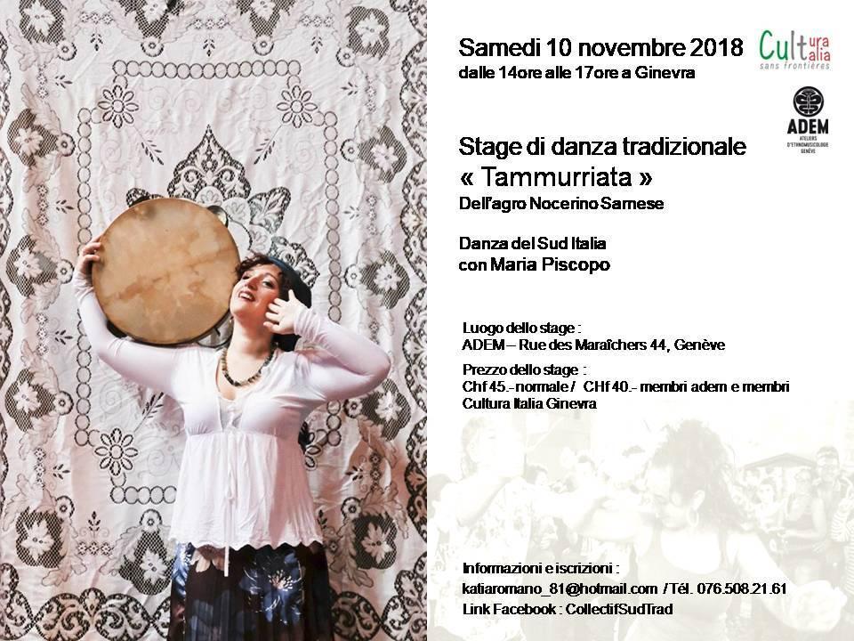 """Stage danza tradizionale """"Tammuriata"""": Sabato 10 novembre 2018"""