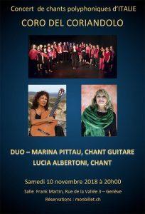 Concert de chants polyphoniques d'ITALIECORO DEL CORIANDOLO